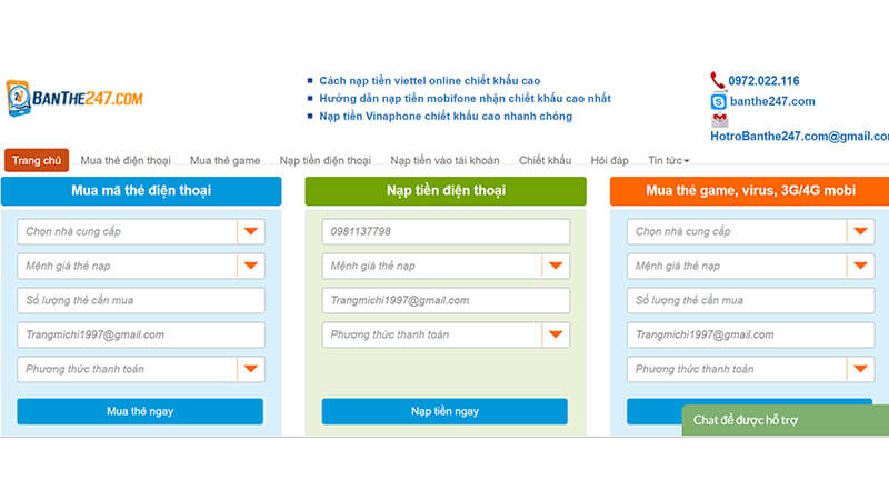Mua thẻ Vinaphone chiết khấu cao tại banthe247.com